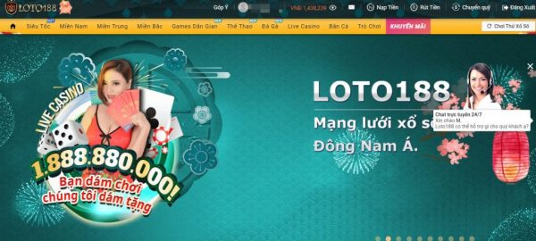 Giao diện Loto188